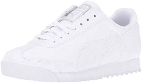 PUMA Unisex-Child Roma Basic JR Sneaker, White/Light Gray, 4 M US Big Kid