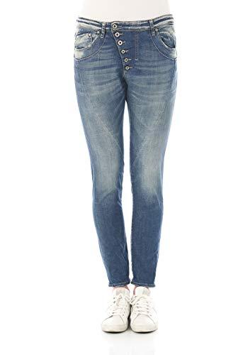 Please Damen Jeans P46M-LAV1771 - Boyfriend - Blau - Medium Blue Denim XXS XS S M L XL 98% Baumwolle Stretchjeans Damenjeans, Größe:S, Farbvariante:Medium Blue (0021)