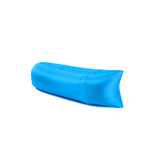 ZWL Colchón De Aire Portátil Flocado De Rayas Cama Inflable Transpirable Ropa De Cama Gruesa Tatami para Interiores Y Exteriores,Azul