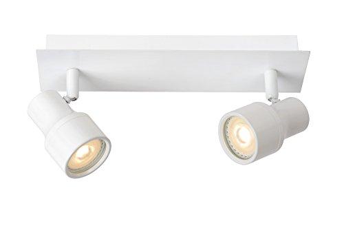 Lucide SIRENE-LED - Spot Plafond - Ø 10 cm - LED Dim. - GU10 - 2x4,5W 3000K - IP44 - Blanc