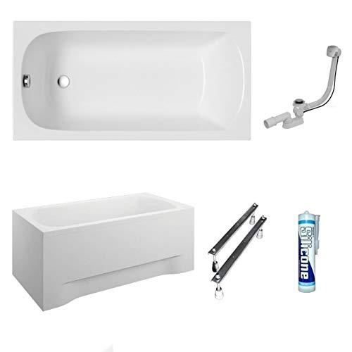 ECOLAM Badewanne Wanne Rechteck Classic Acryl weiß 150x70 cm + Schürze Ablaufgarnitur Ab- und Überlauf Automatik Füße Silikon Komplett-Set (150x70 cm)