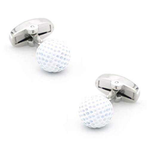 YAMAO Hemd ManschettenknöPfe,iGame Herren Golf Manschettenknöpfe Messing Material Weiße Farbe Golfball Design Manschettenknöpfe
