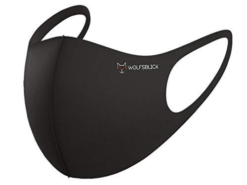 WolfsBlick 5 Stück Mundbedeckung schwarz Unisex 3D Atmungsaktiv Waschbar Bedeckung Gesicht Mund-Nasen Bedeckung stoff, everbasics