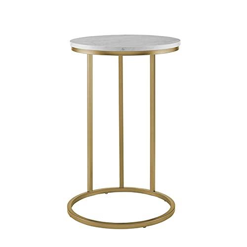C-förmige Beistelltisch Rund, Schlafzimmer Nachttisch Laptop Schreibtisch Wohnzimmer Sofa-side Couchtisch-studientisch-snack-tisch Marmor Metall-sockel-tische Eckger(Size:40*40*55CM,Color:Weiß + Gold)
