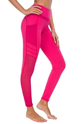 New Minc Damen Sporthose Sport leggings Tights mit Taschen Blickdichte Trainingshose Yogahose Sportleggins für Fitness Sport Freizeit, U3916 - Rot (Tech Mesh), XS