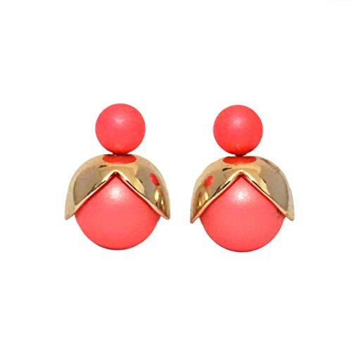 LeahMaria Double Pearl Petal Stud Earrings Front Back Ball Pack of 2 Pink