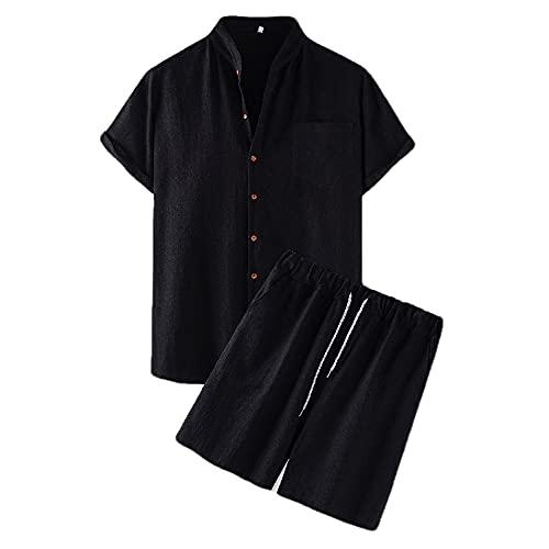Camisa Hombre Verano Casual Color Sólido Botón Placket Camisas Ocio Conjunto Bolsillo Transpirable Hombres Sueltos Camisa Simplicidad Hombres Manga Corta B-Black M
