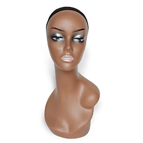 linn45youxian Modèle Ttête Féminine,Mannequin De Mannequin De Perruque De Cheveux De Perruque TêTe De Mannequin Femme Pour Perruque Black