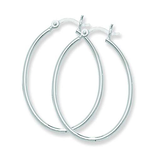 Aeon Pendientes de aro ovalados con cierre de bisagra, joyas de plata de ley hipoalergénicas para mujer, pendientes de plata para mujer, estilo cómodo, elegante, calidad duradera, 35 mm x 25 mm
