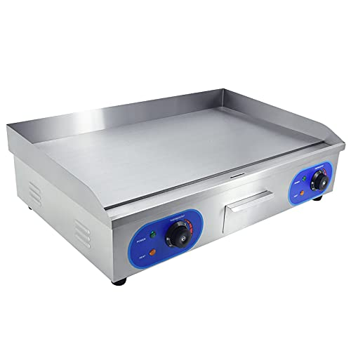 Commercial Electric Griddle Flat Top Grill HotPlate Countertop Grill with Adjustable Thermostatic Control,Stainless Steel Large Grill for Kitchen Restaurant BBQ(3000W 29')