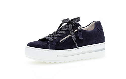 Gabor Damen Sneaker, Frauen Low-Top Sneaker,Comfort-Mehrweite,Reißverschluss,Optifit- Wechselfußbett, sportschuh Damen Frauen,Bluette,39 EU / 6 UK