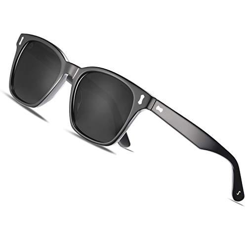 TSEBAN Klassische Polarisierte Sonnenbrille Herren UV 400 Schutzbrille Outdoor Fahren Sport Brille, Acetat-Gestell/Holzbügeln