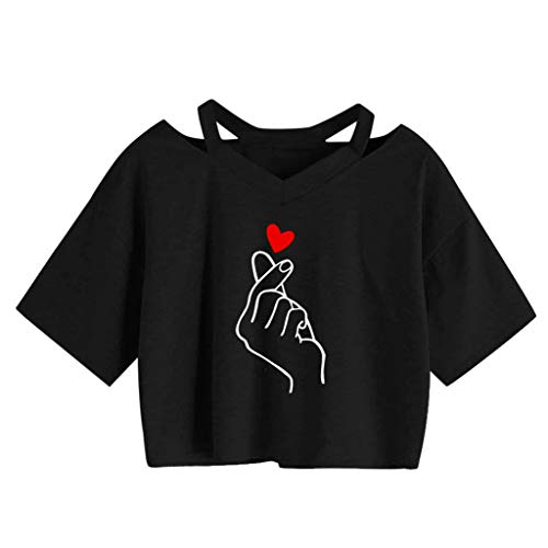 Crop Top Damen Sommer, Ulanda Teenager Mädchen Ananas Stickerei Bauchfrei Bluse Sport V-Ausschnitt Tops Shirt Hemd Frauen Kurzarm Lässiges T Shirt Oberteil Pullover Sale