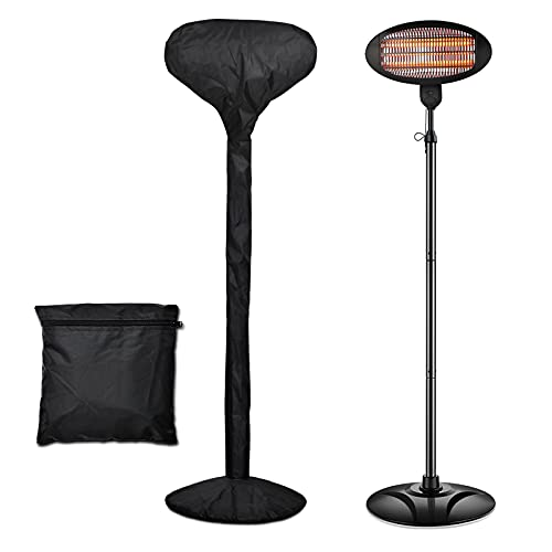 Hisoa 2KW Electric Patio Heater With Cover Garden Outdoor Indoor Quartz Infrared Heaters Free Standing Wall Mounted Safety Overheat Protection Adjustable Height & Tilt 3 Heat settings 650W/1300W/2000W