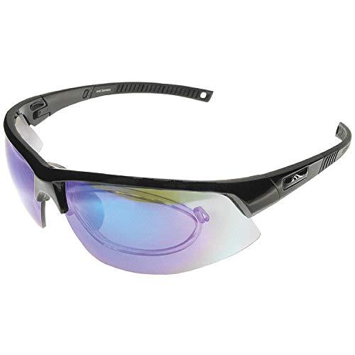 BIGWAVE Pro-Active 905 Black – Superentspiegelte Premium UV 400 Sportbrille mit 4 Wechselgläsern–Radsportbrille mit schmutzabweisender Clean-Coat Beschichtung mit Sehstärke für Damen und Herren