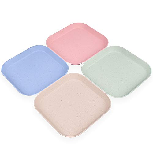 Lnrkai Unbreakable Salad Plates Bread Plates Sets, 4Pcs Mini Square Lightweight Wheat Straw Dishes Plates Sets, Easy to Wash Dessert Plates Healthy for Kids, Adult. Microwave Safe
