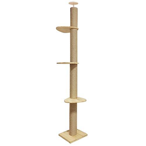 【RAKU】 木登りタワー シングル キャットタワー 突っ張り 猫タワー 省スペース 高さ228~244cm&245~265CM2種類選択可 スリム 爪とぎ 全麻縄巻き 麻紐 おしゃれ 可愛い デザイン 運動不足解消 ストレス解消 リラックス 組み立て 設置 組立 簡単 太い支柱 安定性抜群 猫ツリー 猫ちゃんタワー キャットランド キャットポール 猫たわー 多頭飼い ねこ 猫 キャット ネコ タワー ポール ペット用品 ペットグッズ