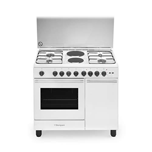 Cucina a gas con forno elettrico ventilato, N° 4 Fuochi + 2 piastre elettriche, 90x60 cm, colore Bianco