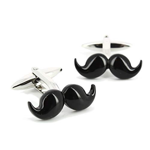 Cravate Avenue Signature. Boutons de Manchette. Moustache, Acier rhodié. Noir, Fantaisie.