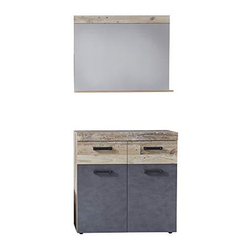 trendteam smart living Garderobe 2-teilige Set Kombination Tailor, 90 x 192 x 34 cm Front: Matera, Korpus: Pale Wood mit viel Stauraum