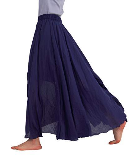FEOYA Jupe Ete Femme Longue en Coton Lin Casual Jupe Plisse Boheme Danse Plage Mariage Vacances Jupe Decontractee Bleu Marine Longueur 85 CM (taille M)