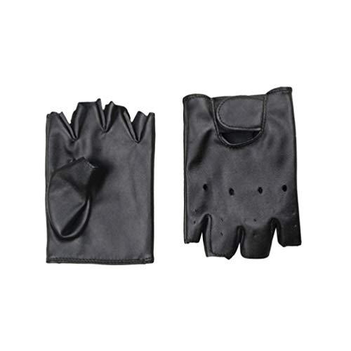 LIOOBO Kinder Leder Fingerlose Handschuhe halbe Finger Sporthandschuhe für Jungen Mädchen im Freien Reiten Angeln Schlittschuhlaufen Jagd Klettern 1 Paar 5-13 Jahre alt