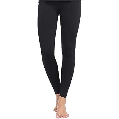 MANCYFIT Thermal Pants for Women Fleece Lined Leggings Underwear Soft Bottoms (Black, Medium)