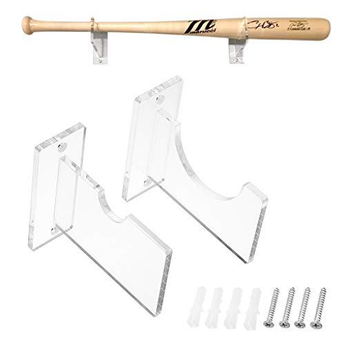 BSTKEY 1 Paar Acryl-Baseballschläger-Halter, Display-Regal, transparente Wandhalterung für Baseballschläger.