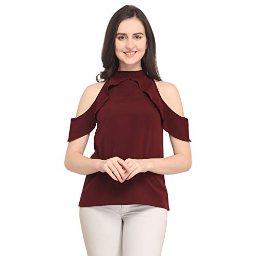 J B Fashion Women's Plain Regular Fit Top (Chain top-Maroon-L)