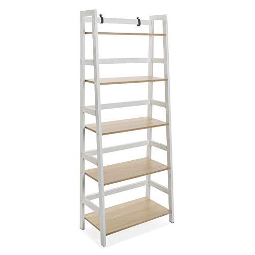 Versa 21300012 estantería 5 alturas vale, madera y metal, blanco y marrón, 163 x 34 x 64 cm.