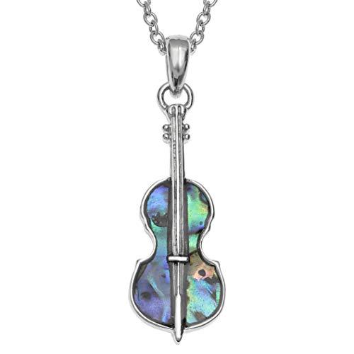 Kiara Jewellery Violin Pendant Necklace Inlaid With Natural Greenish Blue Paua Abalone Shell on 18' Trace Chain. Non Tarnish Silver Colour Rhodium plated.