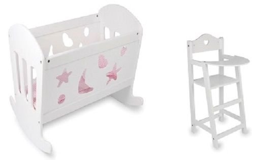 SET OF Dolls White Varnished Rocking Wooden Cradle Cot Bed and Matching High Chair Toy