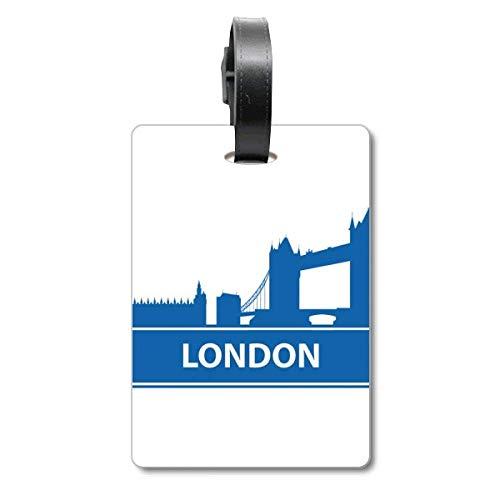 London England - Etiqueta de identificación para Maleta, diseño de Bandera de Inglaterra, Color Azul