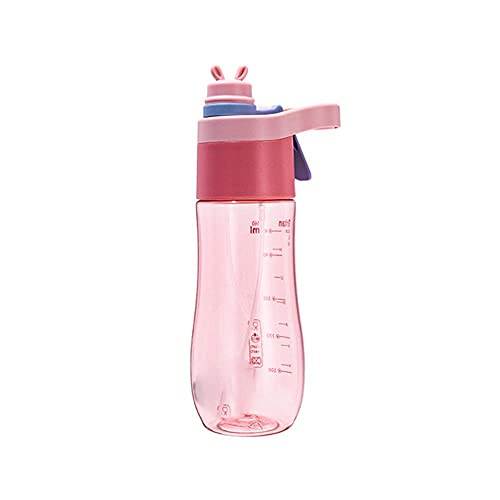 Botella de agua en aerosol portátil de gran capacidad, material amigable, taza para beber, a prueba de fugas, prevención y enfriamiento de golpes de calor, 560 ml, rosa