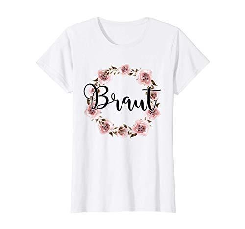 Damen Braut Bride to be Verlobung Blumenkranz JGA Party Geschenk T-Shirt