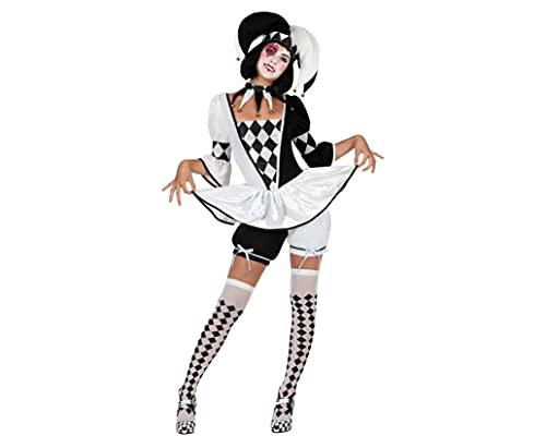 ATOSA disfraz arlequin mujer adulto blanco y negro XS