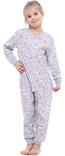 Merry Style Pijama Entero 1 Pieza Vestido de Casa 100% Algodón Niña MS10-186(Melange Unicornio, 158-164)