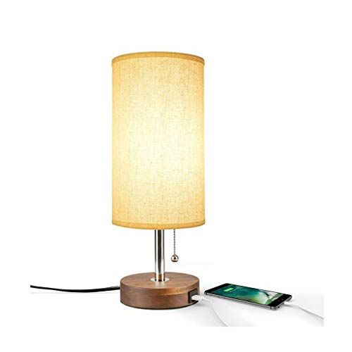 WFL-lámpara de escritorio Lámpara de mesa de tela metálica, Carga de un solo puerto USB Desk luz de la noche de luz, interruptor E26 * 1 botón, Salón dormitorio estudio de cabecera Lámpara de mesa de