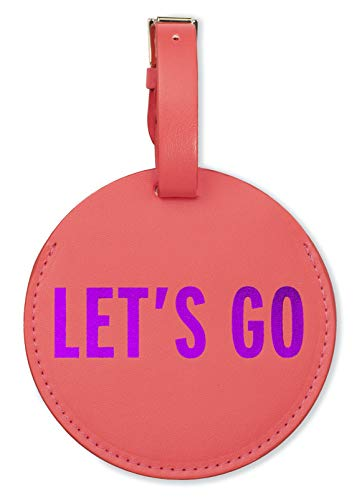 Kate Spade New York Round Vegan Leather Luggage Tag for Women, Durable Suitcase ID Tag, Let's Go