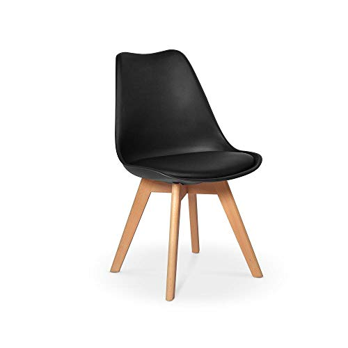 Cadeira Eames Wood Leda Design - Preta