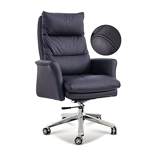 Silla de oficina de sillas de escritorio Silla reclinable de la silla de la computadora de la espalda con reposapiés Silla de oficina de cuero negro cómodo con reposabrazos y respaldo Respaldo cómodo