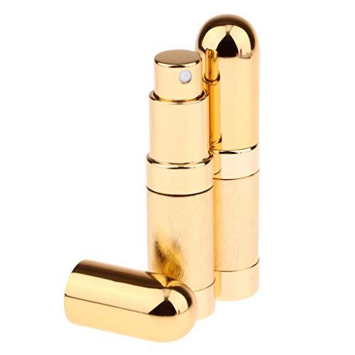 FLAMEER 2pièces 6ml Bouteilles de Parfum en Verre et Métal Vaporisateur Fin Atomiseur Parfum pour Femme Homme - Or