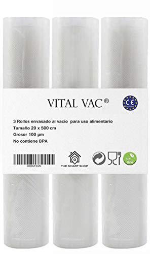 VITAL VAC 3 Rollos Gofrados 20x500 cm para Bolsas de Envasadora al Vacío Doméstica Silvercrest, Jata, Cecotec…