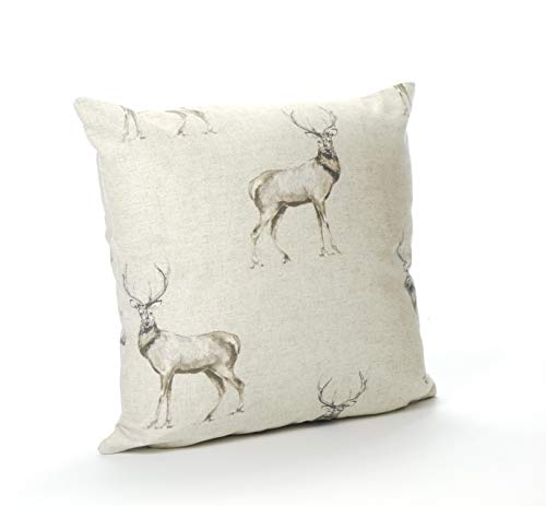 Cotton Animal Stag 16in x 16in Cushion Cover (Reversible)