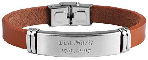Hanessa Echt Leder Armband in hell-braun und silber mit Wunsch Gravur mit Edelstahl-elementen (21 cm länge) Geschenk für den Mann