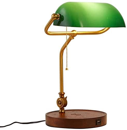 Lámpara de escritorio Estudio oficina Retro tradicional Lámpara de lectura de cabecera Lecho de cristal grueso verde Base Lámpara de mesa E27 Con interruptor -verde