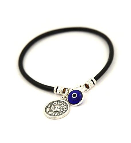 Mizze pour Luck Bijoux Poisson et Mauvais /œil Protection Cuir Bracelet /à Breloques en Noir