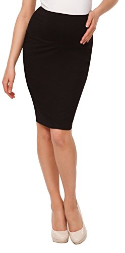 Happy Mama. Womens Maternity Pencil Skirt Overbump Elastic Panel Pregnancy. 066p (Black, US 10, XL)