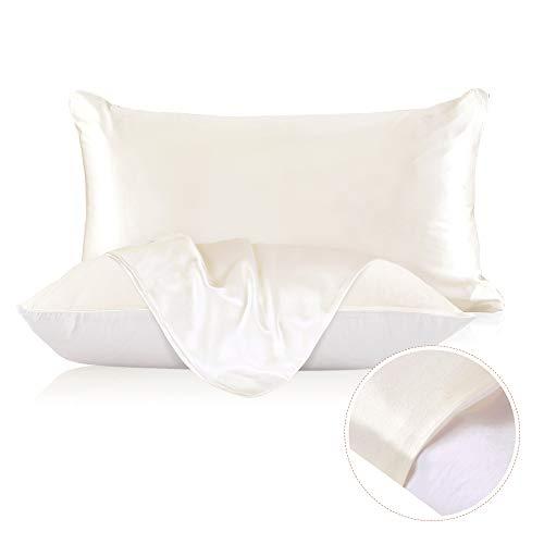 LilySilk Seiden-Kissenbezug, Baumwollunterseite, 19 Momme, Maulbeerseide, 100 % Baumwolle, mit Reißverschluss