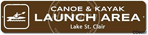 Canoe & kajak lancering gebied tin metalen bord plaque vintage retro ijzer muur waarschuwing affiche voor bar cafe winkel huis garage office hotel